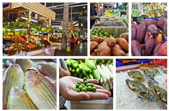 Clockwise from top left: Market, sweet potatoes, banana flowers, bondage crabs, baby eggplants, fresh fish