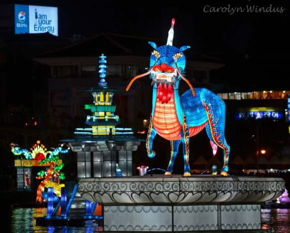 We saw the lantern festival in Jinju light up the night in October
