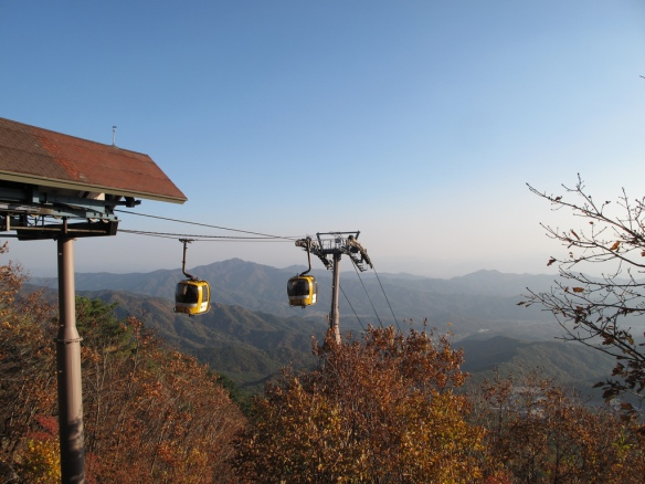 This year we checked out the fall foliage from the skies above Daegu...or from one of the mountain peaks at the outskirts of town.