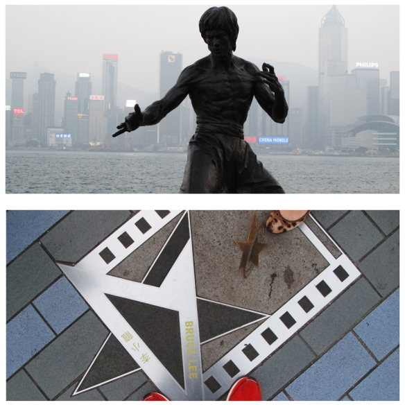 Bruce Lee's star and statue on the Avenue of Stars in Tsim Sha Tsui