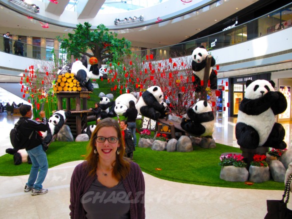 Carolyn posing with the IFC panda gang.