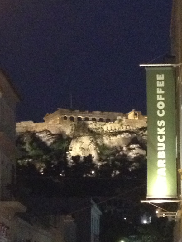 The Parthenon lit up at night. A good way to end our first day in Greece.