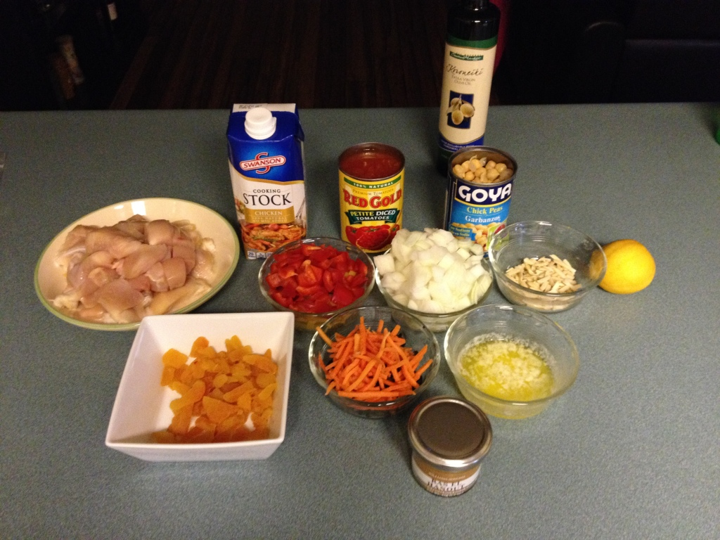 The mise-en-place for my chicken tagine.