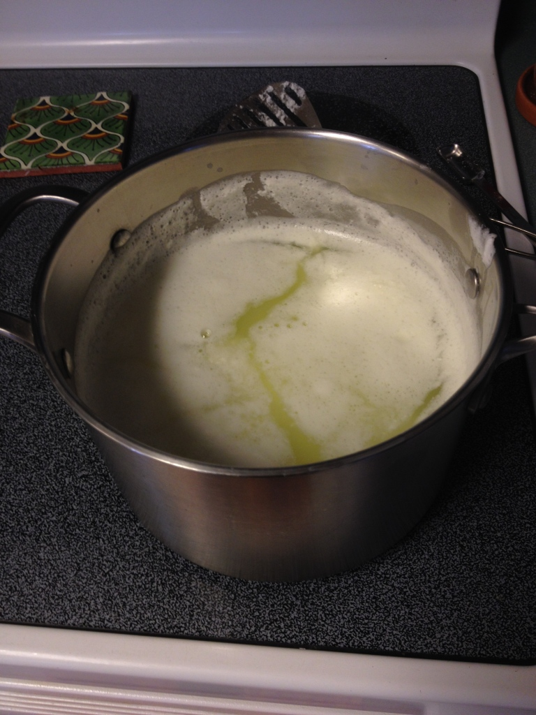The curds are separating!