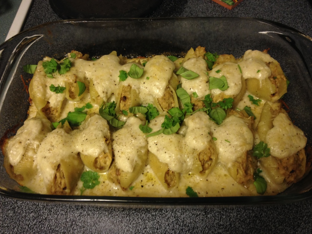 Delicious stuffed pasta shells from the Smitten Kitchen Cookbook Recipe.